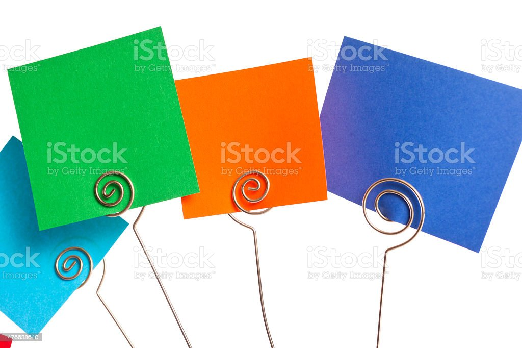 Colorful, blank notecards. Square-shaped on white background. stock photo