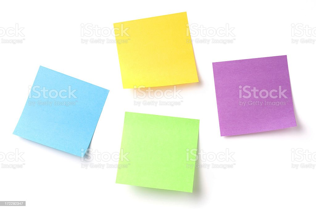 Colorful blank post it memo sticky notes royalty-free stock photo