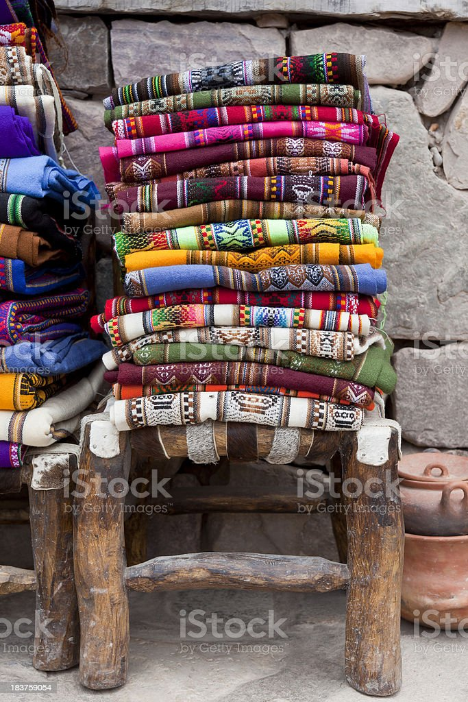 Colorful Blankets at market in Argentina south america stock photo