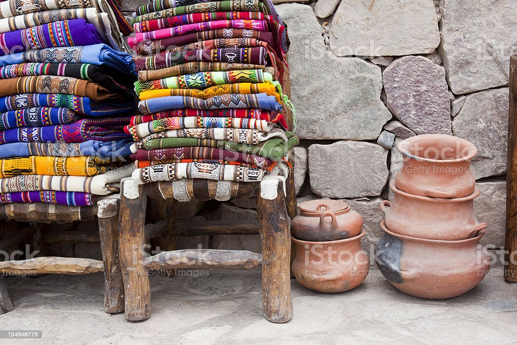 Colorful blankets on chair at market in Argentina south america stock photo
