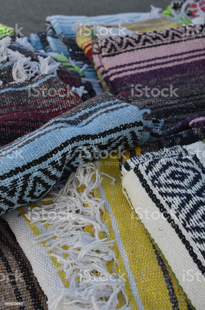 Colorful blankets on display royalty-free stock photo