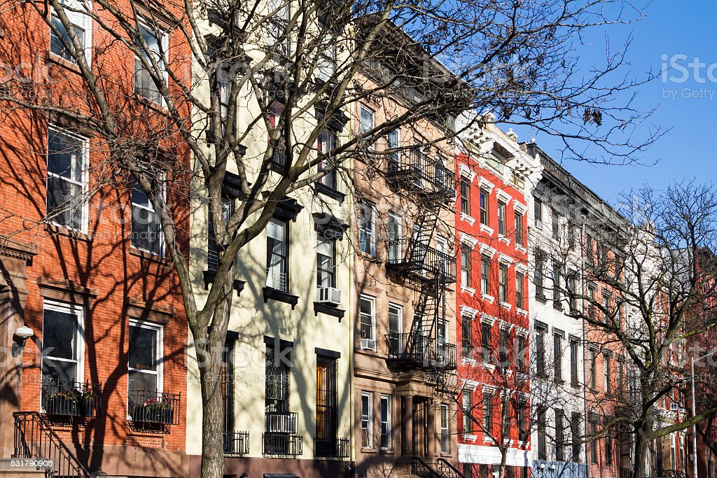 Colorful block of buildings in New York City stock photo