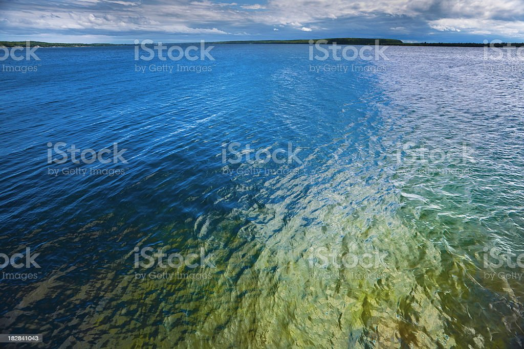 Colorful Blue Green Water Surface With Distant Horizon stock photo