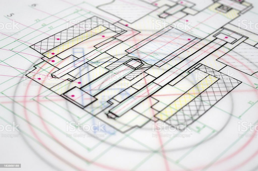 Colorful Blueprint Outline-Industry Design Printout stock photo