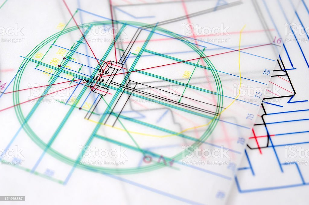 Colorful Blueprint Outline-Industry Equipment Design royalty-free stock photo