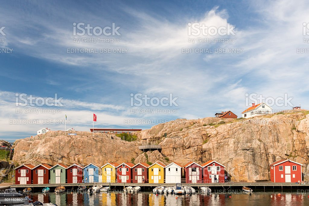 Colorful boat houses at the smogen bridge. stock photo