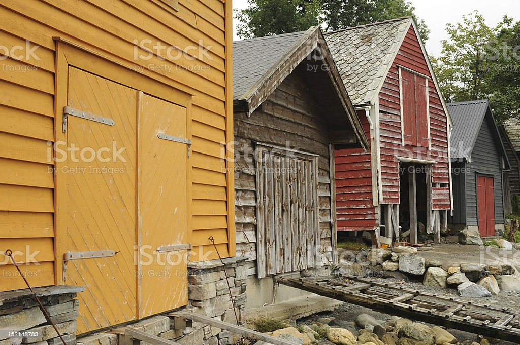 Colorful boat houses stock photo