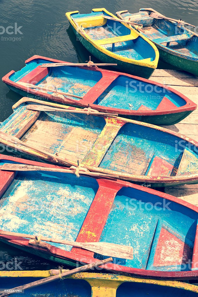 Colorful boats in Cuba stock photo