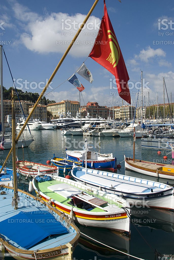 Colorful boats in harbor of Nice, Cote d'Azur royalty-free stock photo