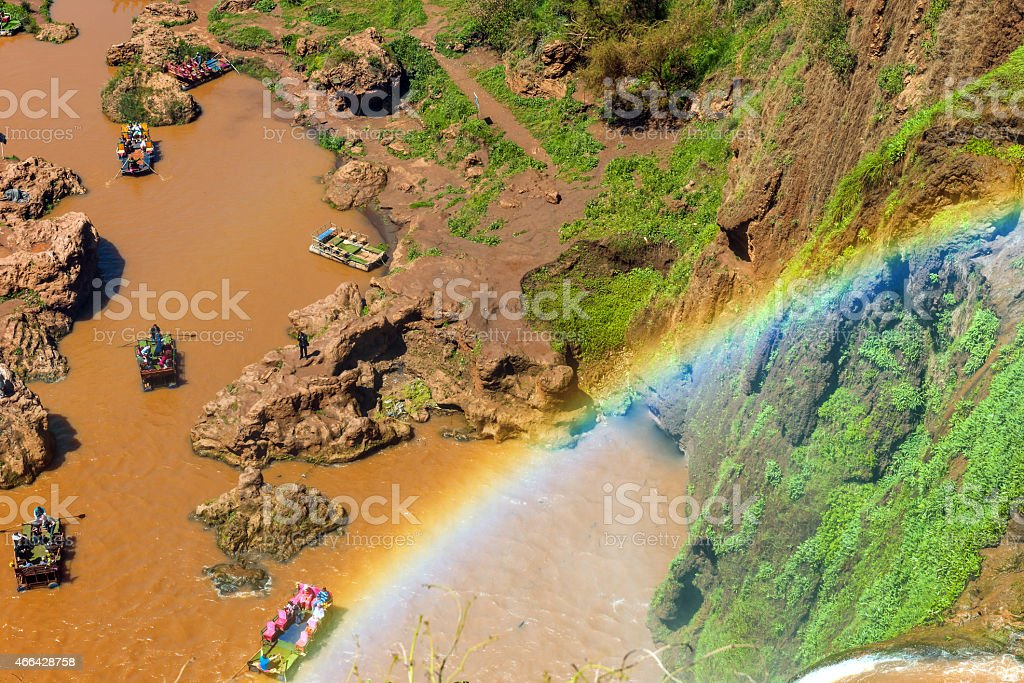 Colorful Boats in Ouzoud, rainbow, waterfall, rowing,Morocco, North Africa stock photo