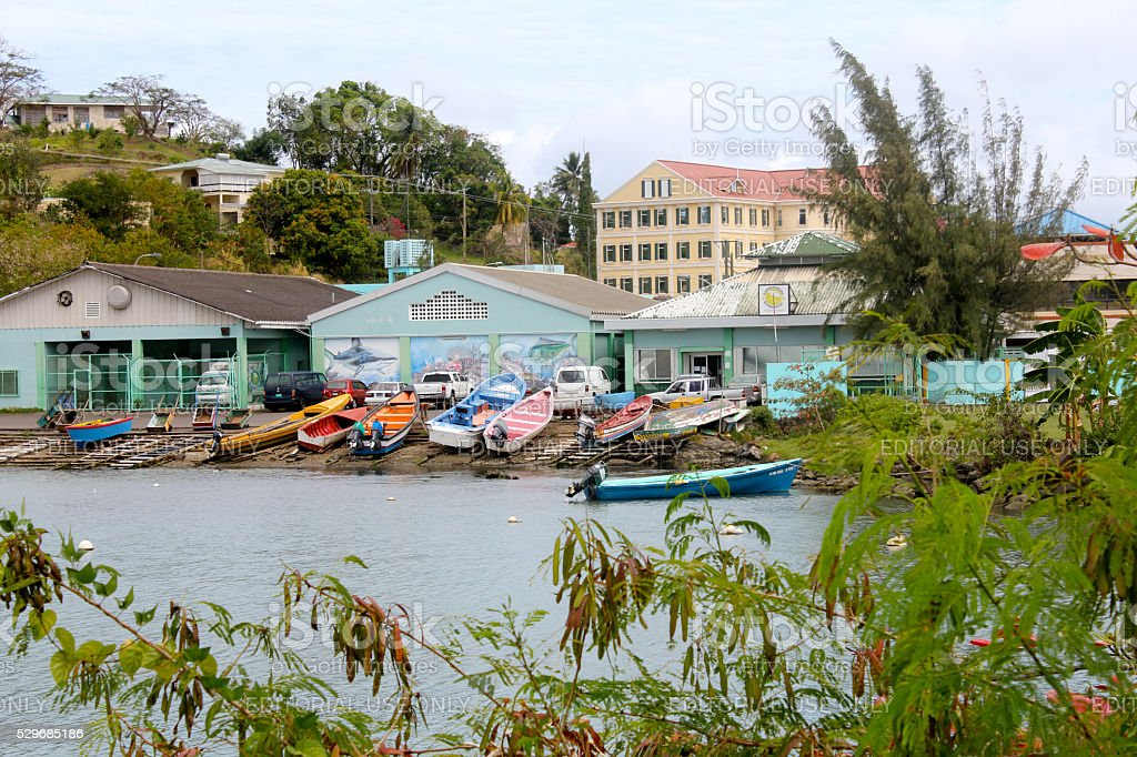 Colorful Boats in St. Lucia stock photo