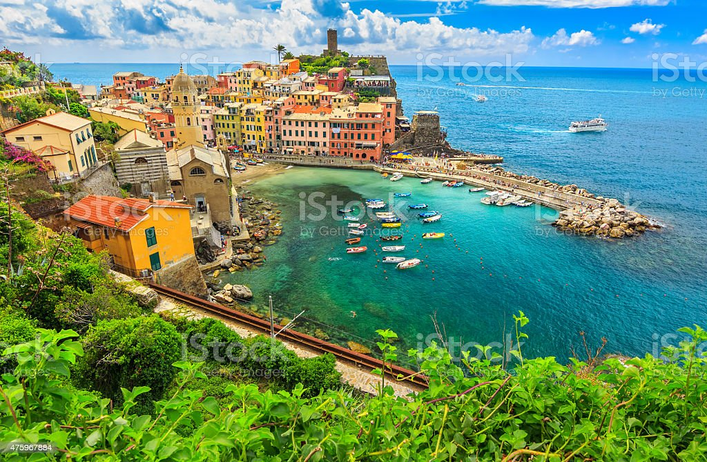 Colorful boats in the bay,Vernazza,Cinque Terre,Italy,Europe stock photo