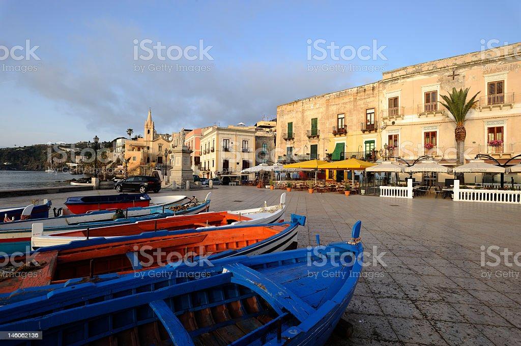 Colorful boats on Marina Corta in Lipari Island stock photo