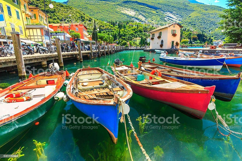 Colorful boats on the lake,Garda lake,Torbole,Italy,Europe stock photo