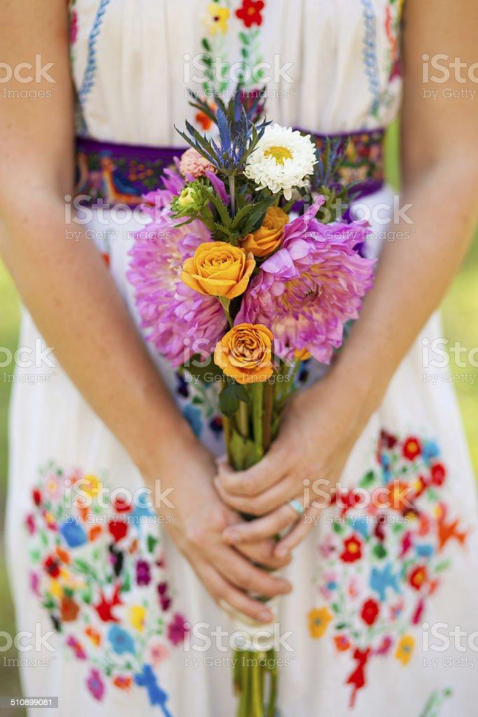 Colorful Bohemia Style Wedding Bouquet stock photo