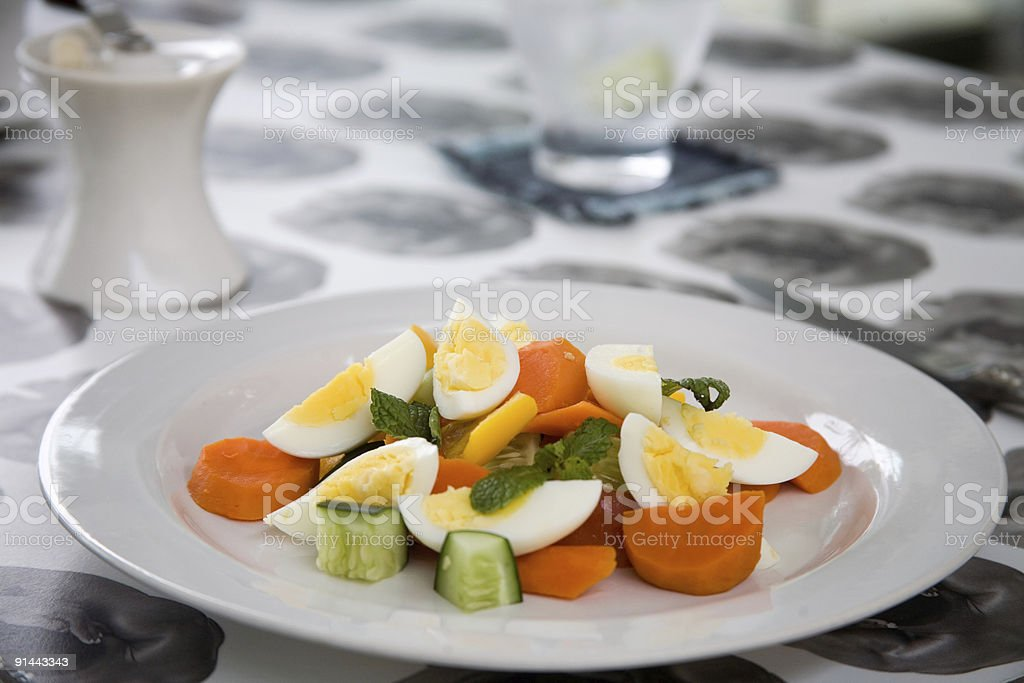 colorful boiled egg salad stock photo