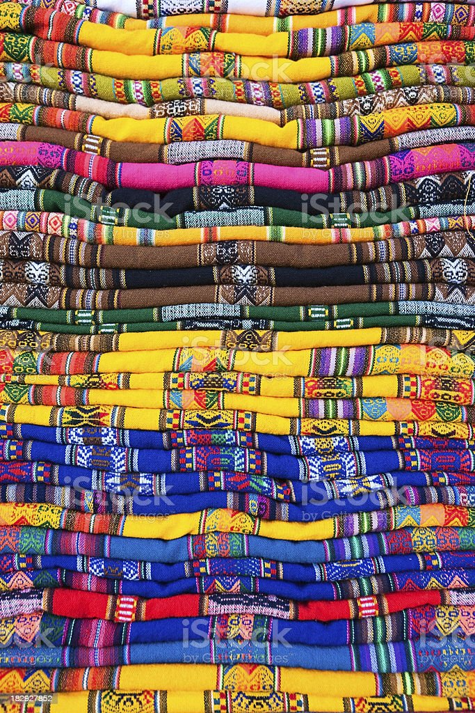 Colorful Bolivian fabrics and clothes for sale, Copacabana royalty-free stock photo