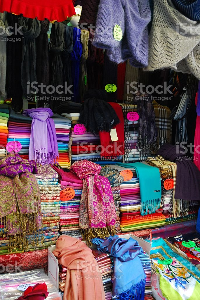 Colorful bolts of fabric royalty-free stock photo