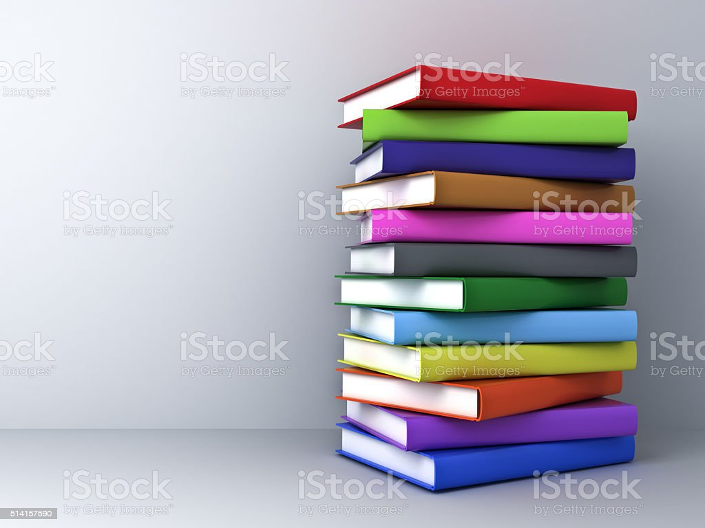 Colorful book on white wall background stock photo