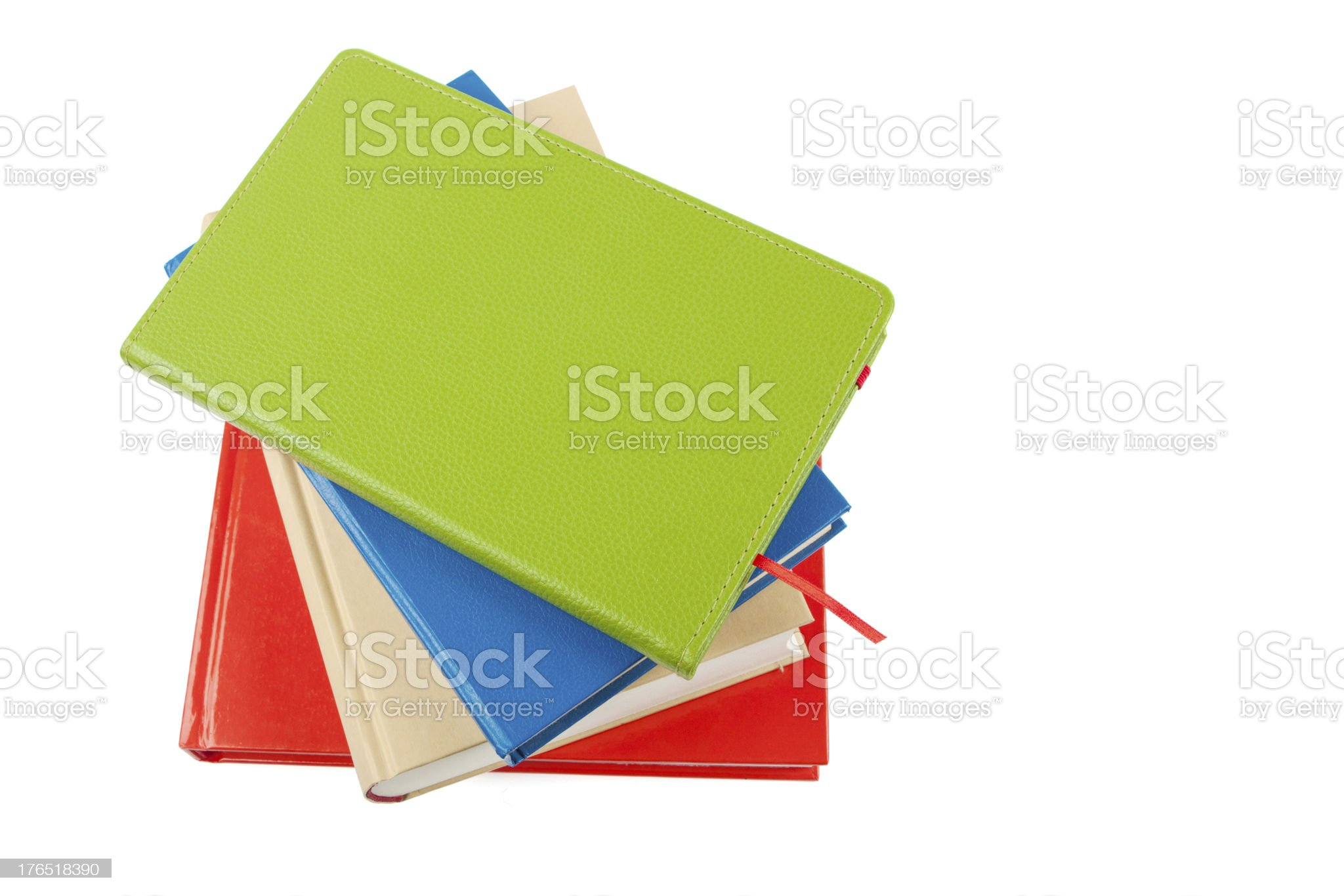colorful books heap isolated on white royalty-free stock photo