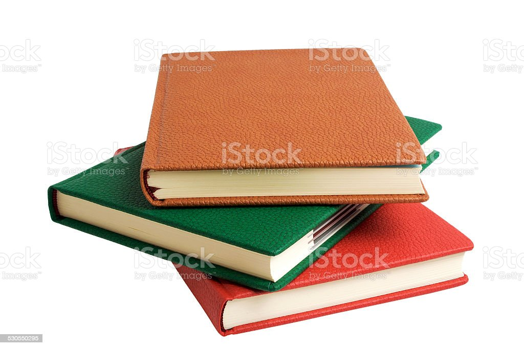 Colorful books isolated on white background stock photo