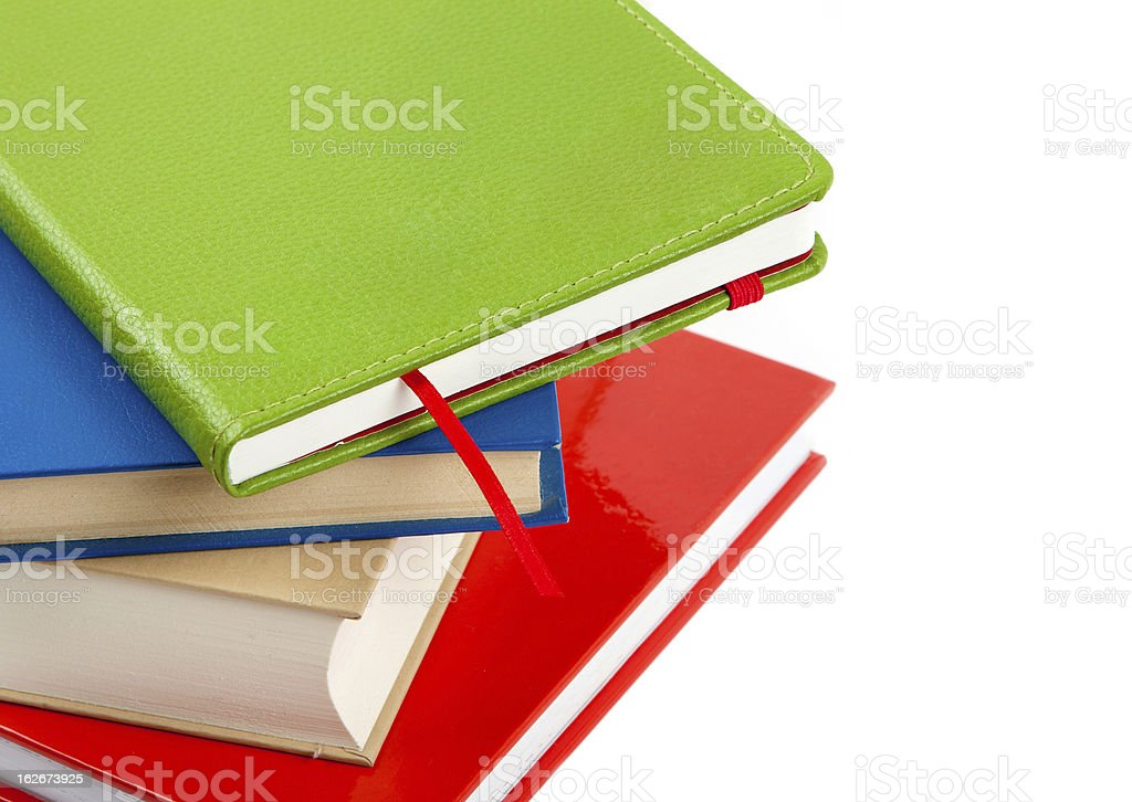 colorful books isolated on white royalty-free stock photo