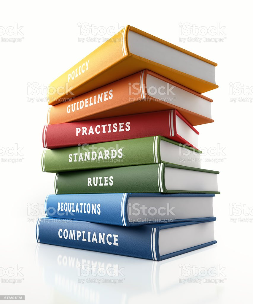 Colorful Books of  Compliance Standards and Rules stock photo