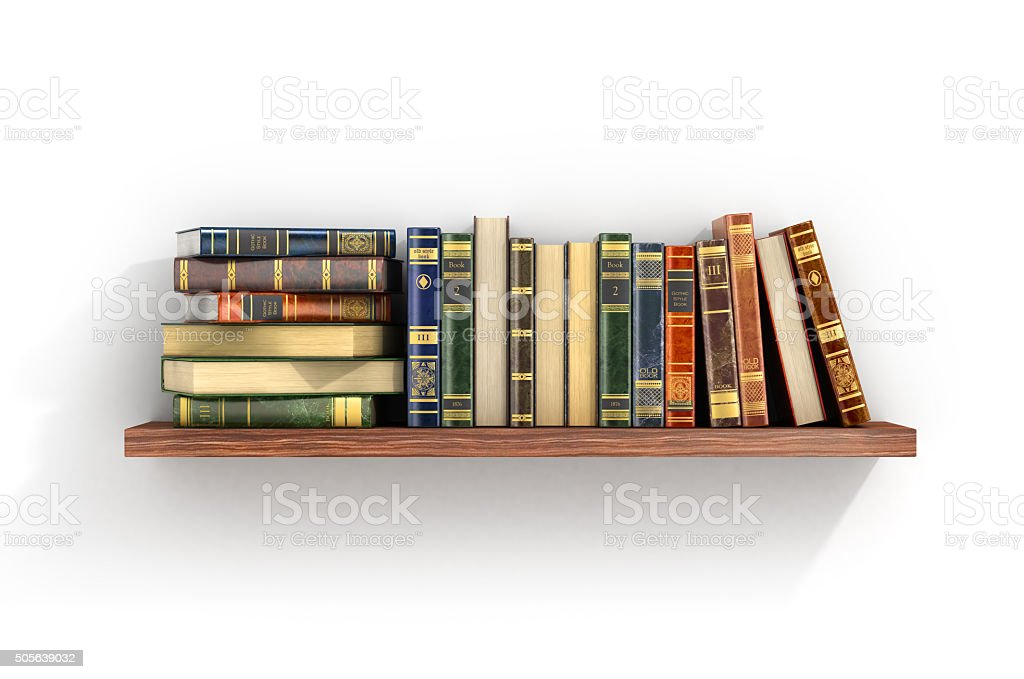 Colorful books on the wood shelf. stock photo