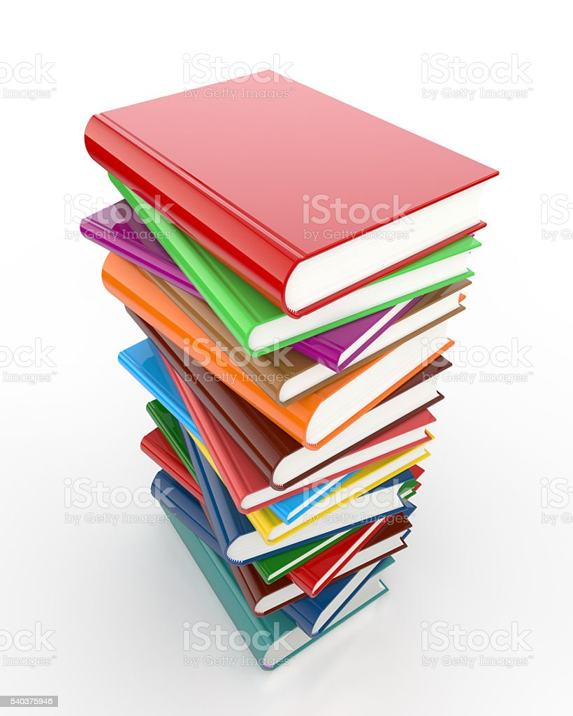 Colorful books on white background stock photo