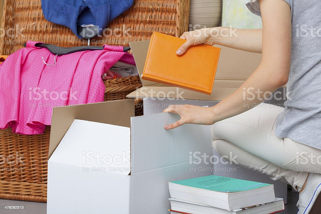 Colorful books packing stock photo