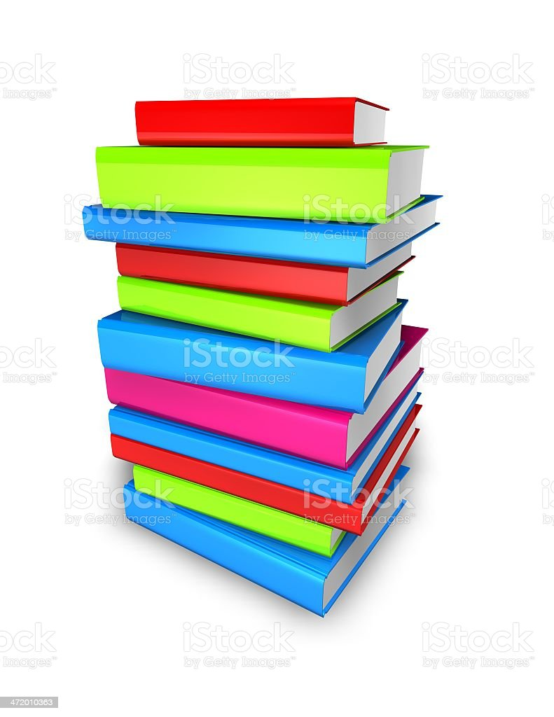 colorful books pile isolated illustration royalty-free stock photo