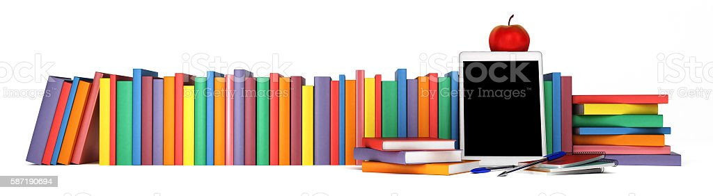 colorful books, tablet, school supplies and an apple stock photo