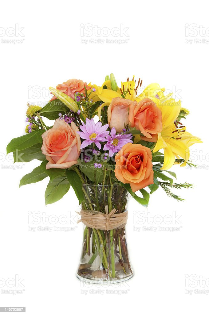 Colorful bouquet of flowers in a vase stock photo