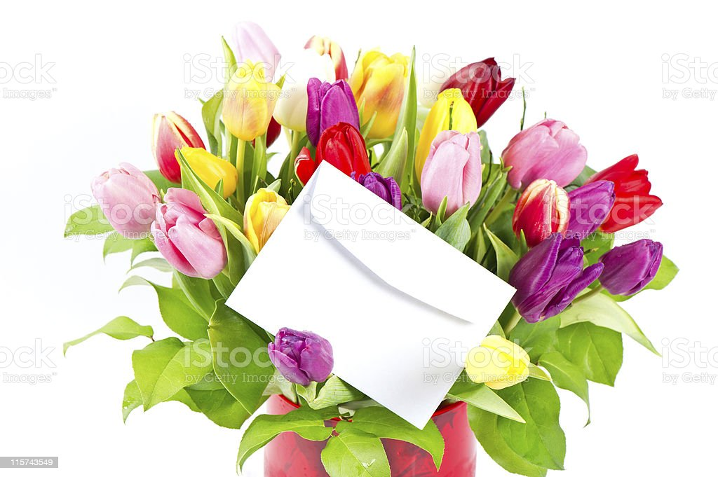 colorful bouquet of fresh tulips royalty-free stock photo