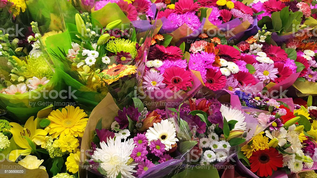 Colorful Bouquets Of Flowers. stock photo