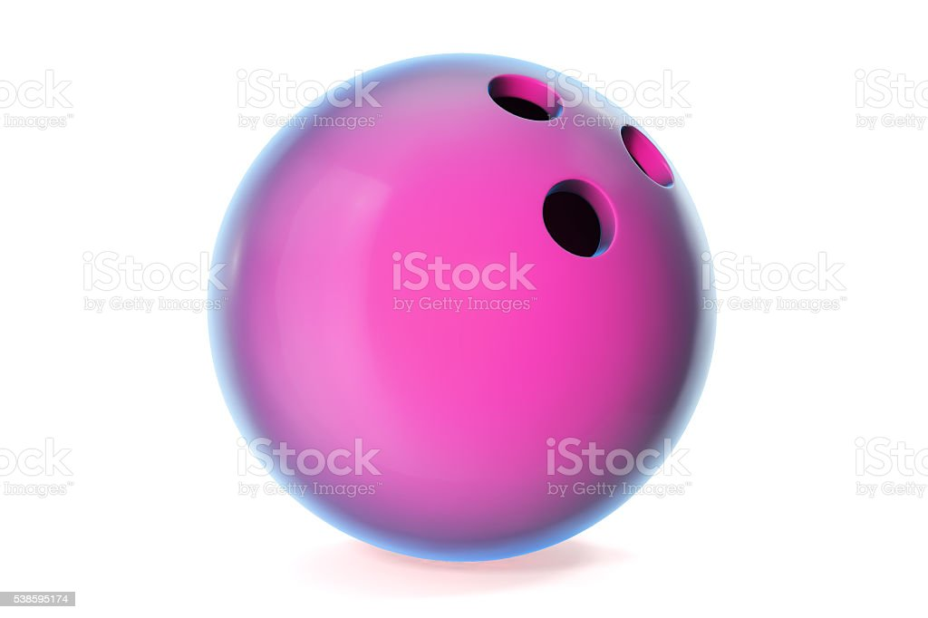 Colorful bowling ball isolated on white background. 3d illustration stock photo
