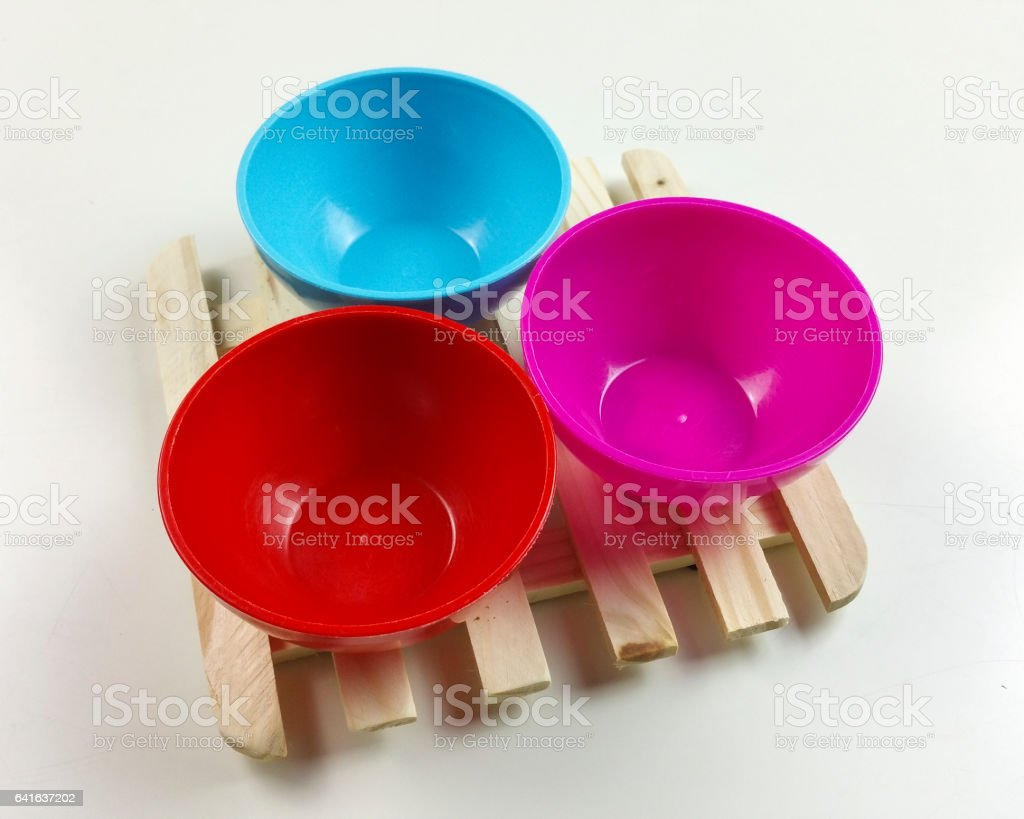 colorful bowls and coffee custard stock photo