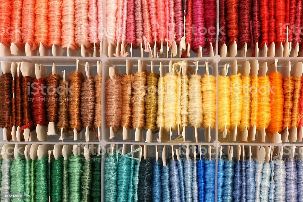 colorful box of thread stock photo