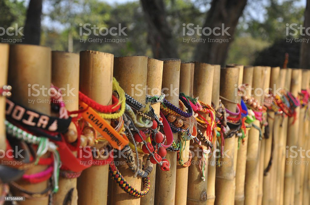 Colorful Bracelets at the Killing Fields, Cambodia stock photo