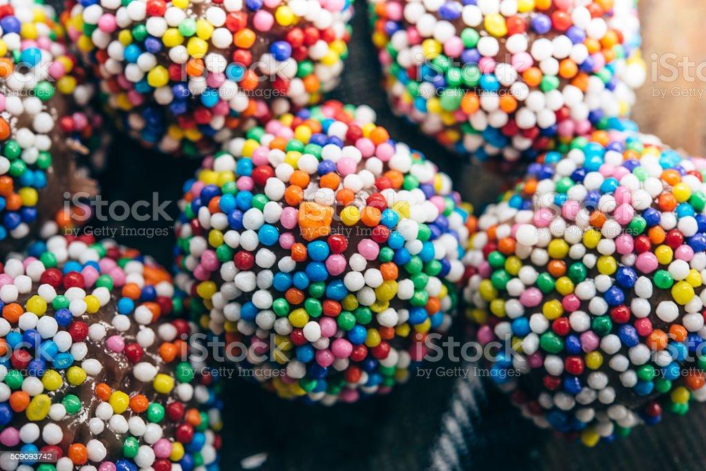 colorful brazilian brigadeiros chocolate truffles stock photo