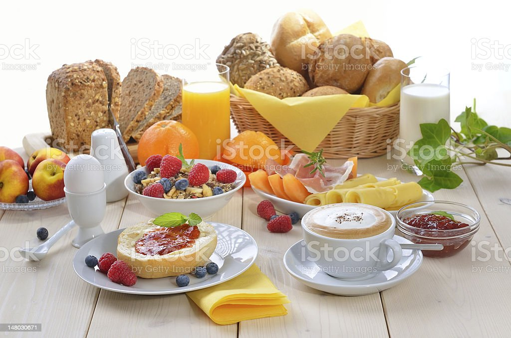 Colorful breakfast stock photo