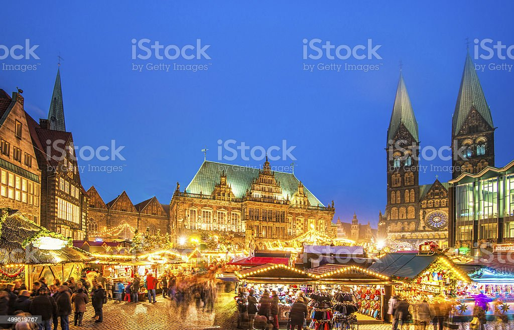 Colorful Bremen Christmas Market stock photo
