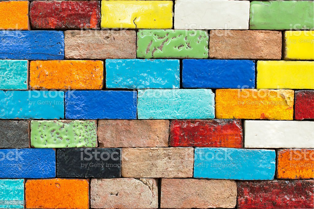 Colorful Brick wall for background stock photo