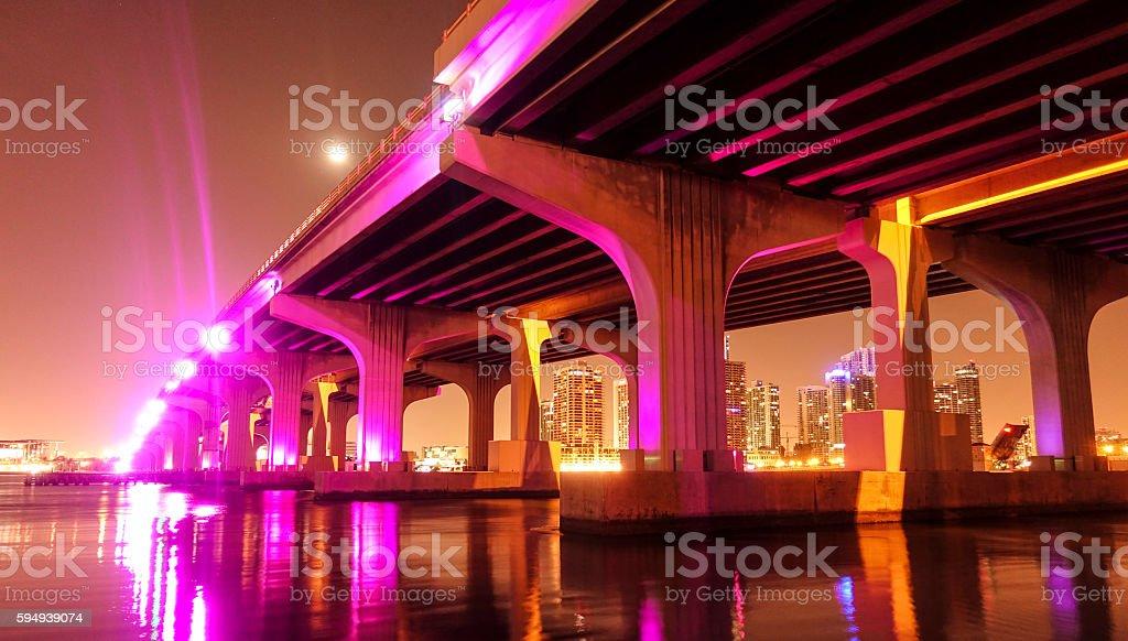 Colorful bridges in Miami by night Lizenzfreies stock-foto