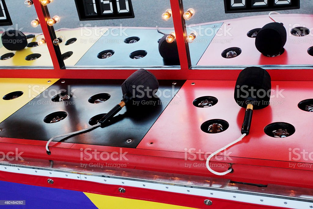 Colorful, bright lights of carnival game.  USA. stock photo