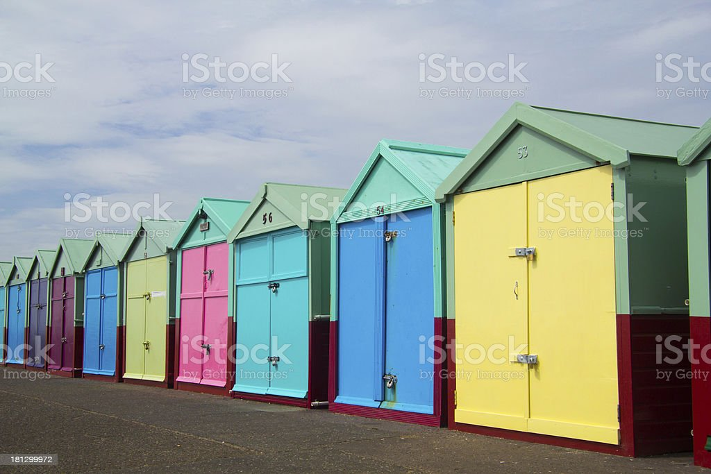 Colorful Brighton Beach Huts royalty-free stock photo