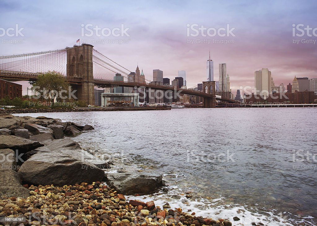 Colorful Brooklyn Bridge during the day, Close to Sunset royalty-free stock photo