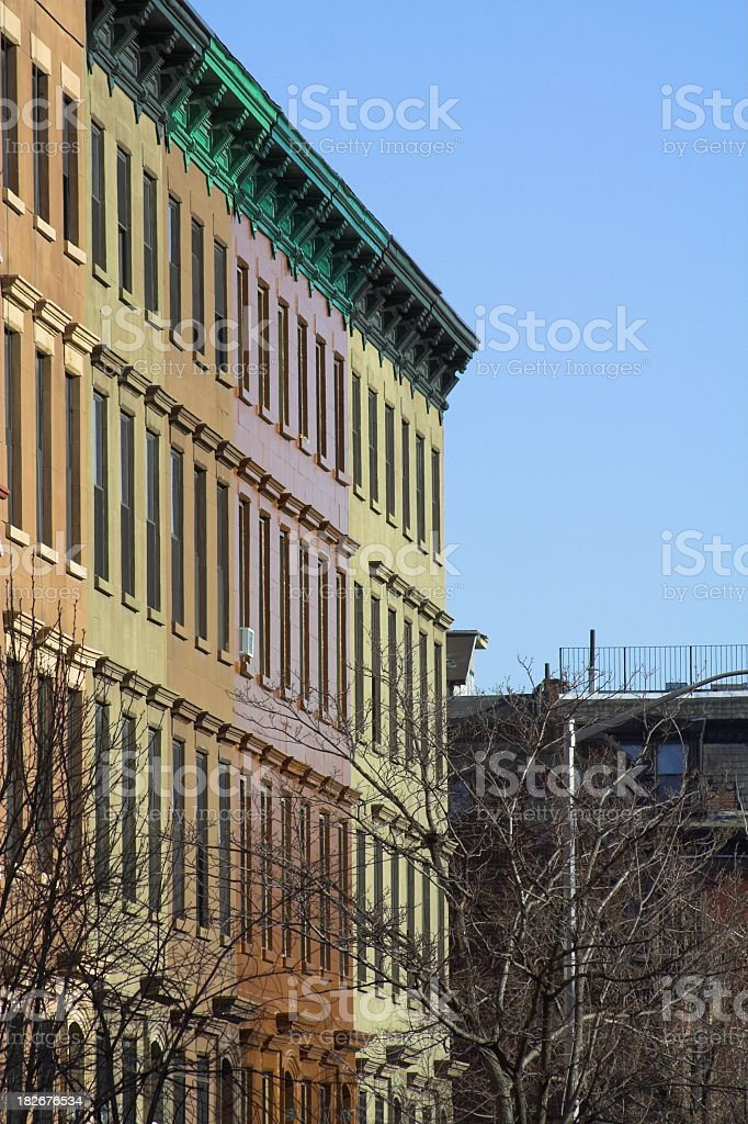 Colorful Brownstones in NYC stock photo