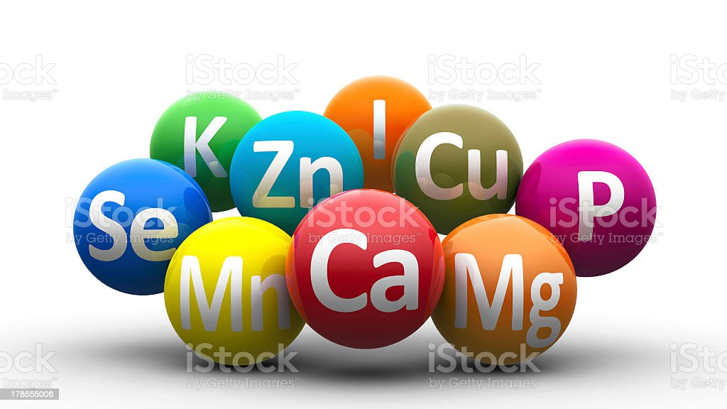 Colorful bubbles labeled with various essential minerals stock photo