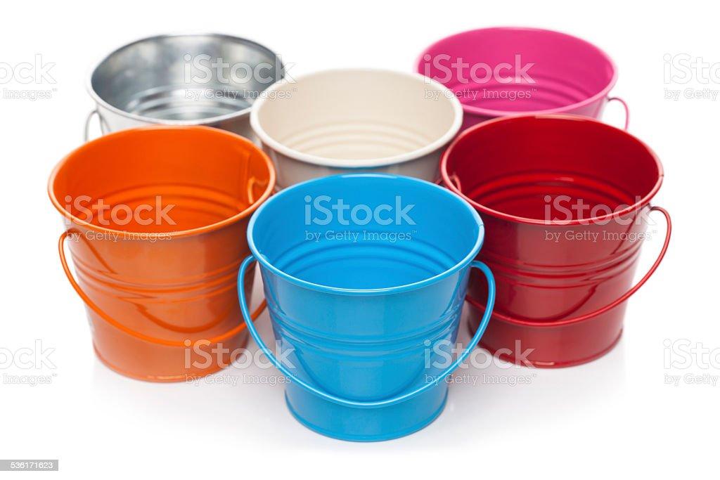 colorful bucket stock photo